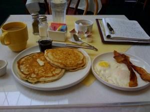 The 2/2/2 deal -- 2 pancakes, 2 eggs, 2 bacon.