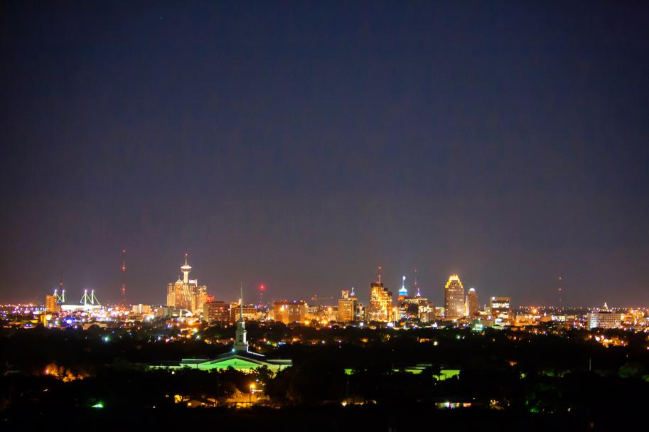 San Antonio skyline from The Bushnell's rooftop terrace - photo by Tyler Schmitt