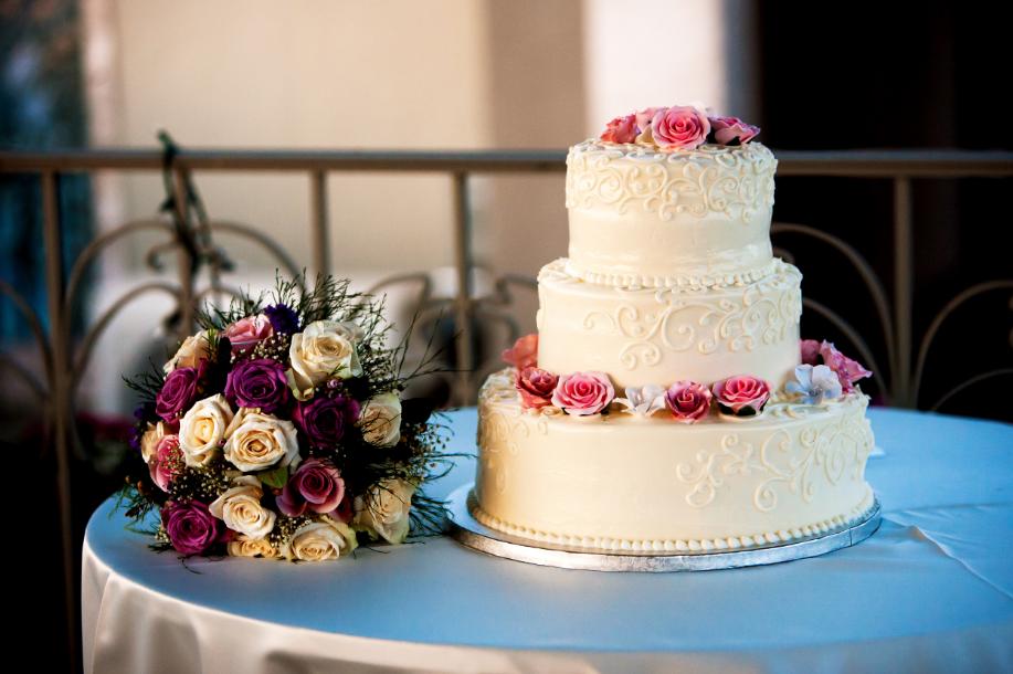 Wedding cake from Elms Bake Shop, the heat got to it a little bit but it still looked awesome - photo by Tyler Schmitt