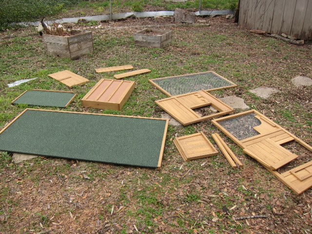The pieces to our Foursquare Chicken Coop from My Pet Chicken.