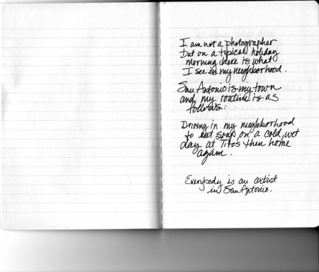 Kim Bishop's journal from the January 2013 Unfiltered project.