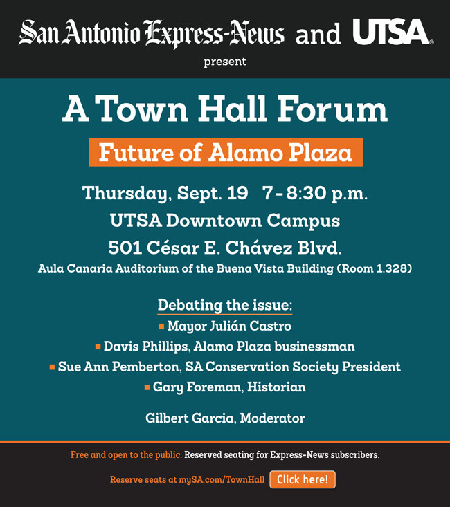 Alamo Plaza Town Hall: Sept 19
