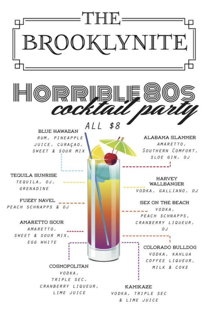80s Themed Cocktail Party at Brooklynite: Sept 25