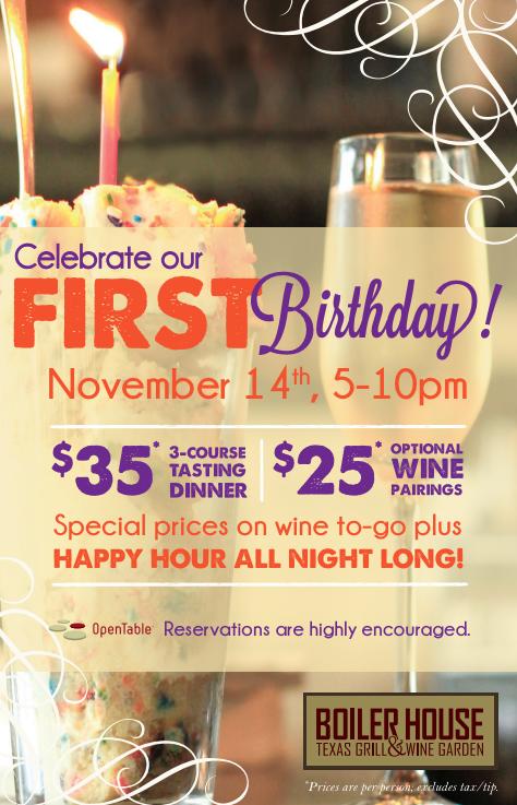 Boiler House First Birthday Party: Nov 14