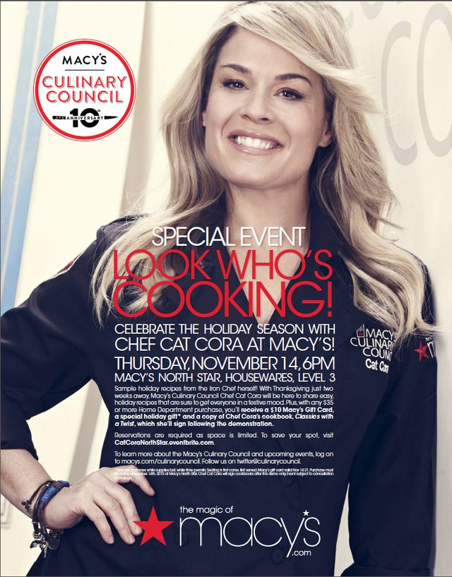 Cat Cora at Macy's: Nov 14