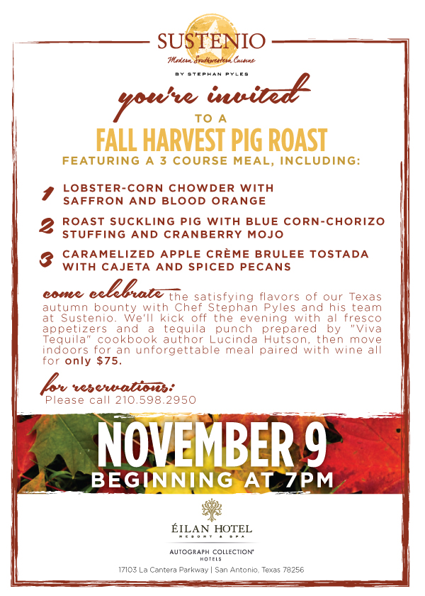 Sustenio's Fall Harvest Pig Roast: Nov 9