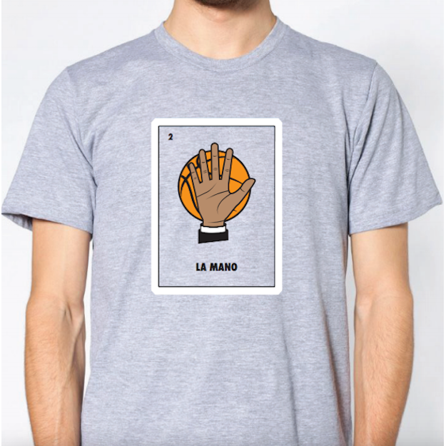 SA Flavor la mano Spurs Loteria design on american apparel stock image