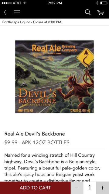 Minibar Real Ale Devils Backbone Product Page