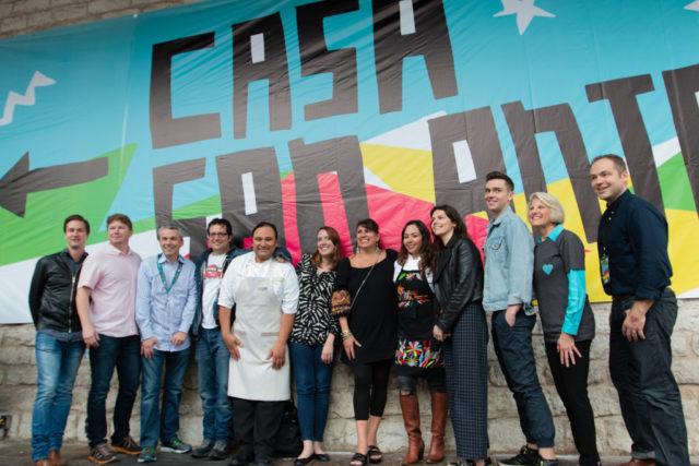 The three San Antonio chefs with the celebrity judges at Casa San Antonio. Photo by Matthew Niemann.