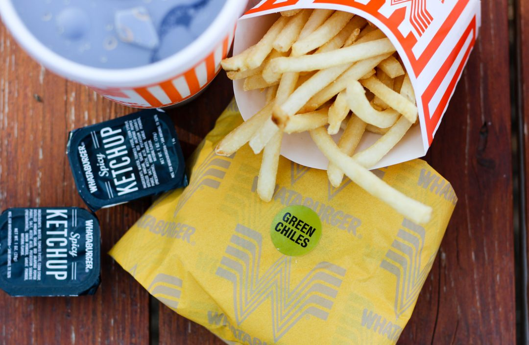 Whataburger Green Chile Burger Fries Drink Spicy Ketchup